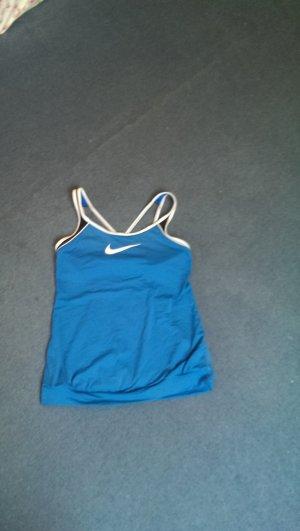 Nike T-shirt de sport bleu-blanc fibre synthétique