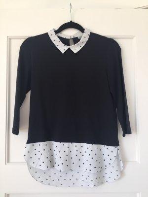 Cuello de blusa blanco-azul oscuro