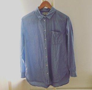 Blaues oversized Baumwollhemd