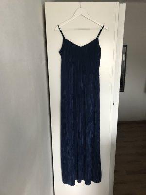 Blaues Plissee Maxikleid
