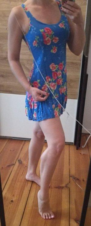 Blaues rückenfreies Minikleid S Blumen