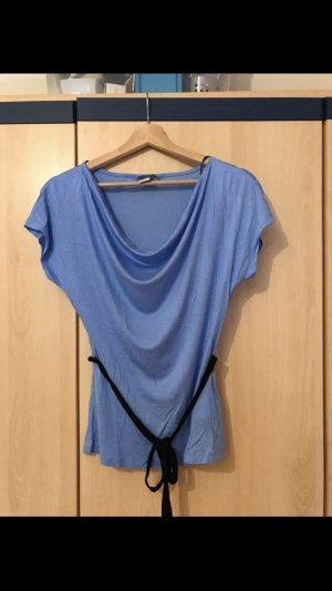 H&M Cowl-Neck Shirt cornflower blue-black