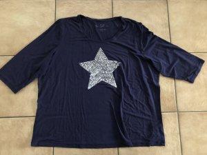 blaues Shirt mit Dreiviertelärmel und Paillettenstern / Stern von Canda - Gr. XXL
