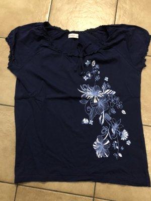 blaues Shirt mit Raffärmeln und Blumenprint von Sheego, wie neu - Gr. 44/46
