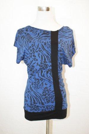 blaues Shirt mit schwarzem Print von Topshop