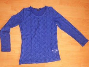Blaues Shirt mit Spitze Blusenähnlich