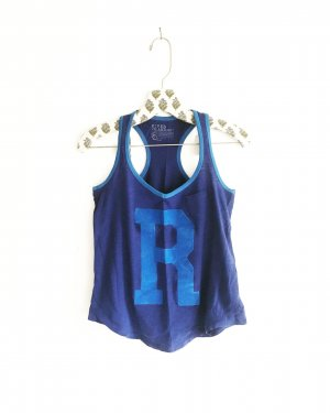 blaues shirt / tank top / letter shirt / vintage / edgy / blue