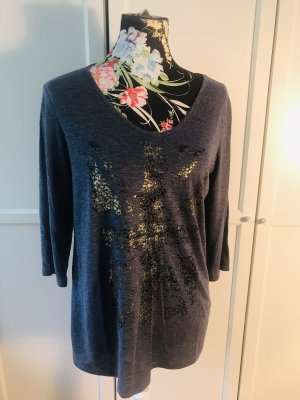 s.Oliver V-hals shirt blauw-goud