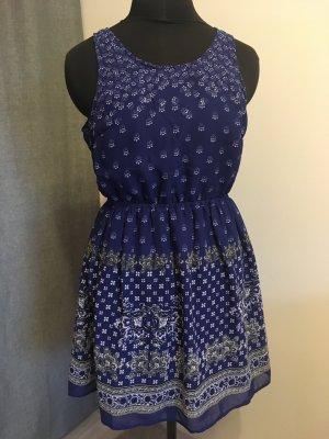 H&M Cut Out Dress blue-dark blue polyester