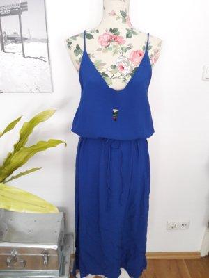 Blaues Sommerkleid, Midikleid mit Schlitzen