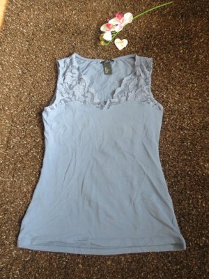 H&M Lace Top cornflower blue cotton