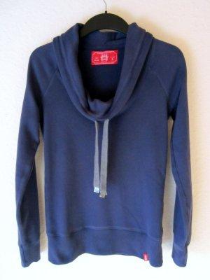 Blaues Sweatshirt mit Wasserfallkragen und Kordelzug