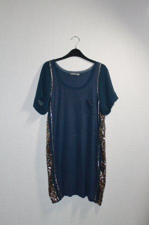Blaues T-Shirt Kleid mit Pailletten von Pinko