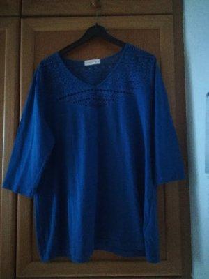 Blaues T-Shirt mit Spitzeneinsatz , Gr. 48/50