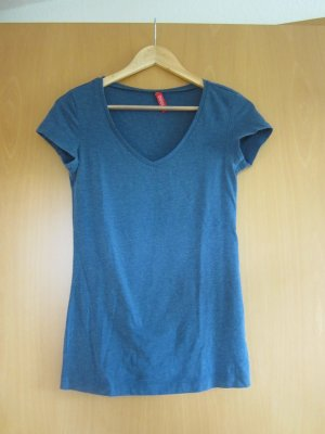 H&M V-hals shirt staalblauw Katoen