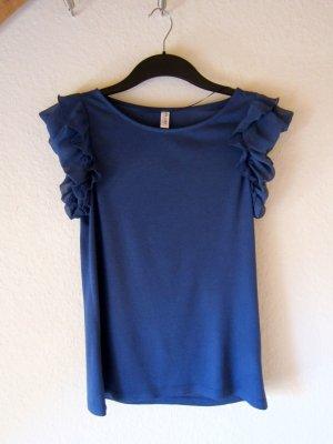 Blaues T-Shirt mit Volantärmeln