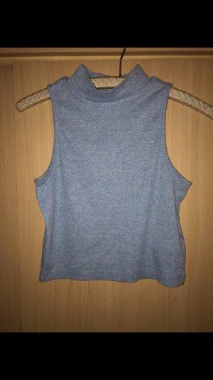 H&M Top con colletto arrotolato azzurro