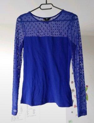 Blaues Top Bluse langärmelig durchsichtig H&M