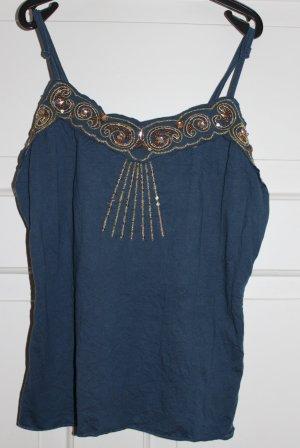 Blaues Top mit goldenen Pailletten- und Perlen-Verzierungen