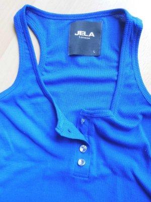 blaues Top mit Knopfleiste