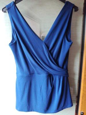 Blaues Top mit V-Ausschnitt von h&m, Gr. 38