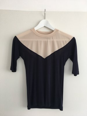 Topshop Long Shirt dark blue-cream