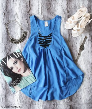 Vila Camisa tipo túnica azul acero-negro