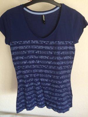 T-shirt col en V multicolore coton