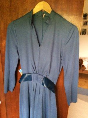 Blaues Vintage Baumwoll Kleid Maxi