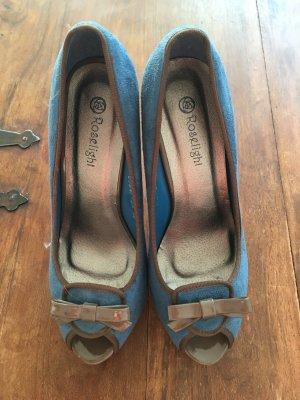 Blaues Wunder: Peep-Toe-High-Heels, neu