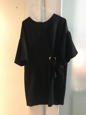 Blaues Zara Kleid mit Schleife und Puff-Ärmeln