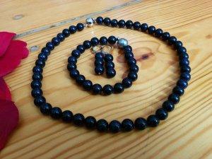 Blaufluss Kette Collier und Armband mit Magnetverschluss Silber und Ohrhänger edel 3-tlg. Set mit Schmucktäschchen NEU