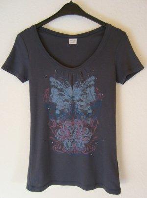 Blaugraues T-Shirt mit Print und Nieten