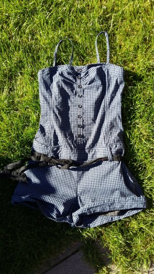 blaukarierter Jump-Suit , Shorty figurbetont Gr 38 mit gepunkteter Bluse