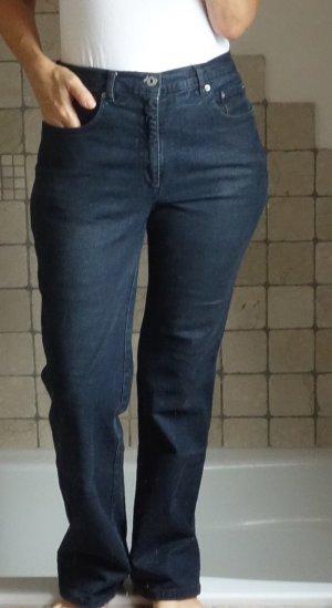 Blaumax, Jeans mit geringer Waschung, Markenjeans, dunkelblau, hoher Bund, gerades Bein, getragener guter Zustand, Baumwolle/Polyamid/Elasthane, W33/L32