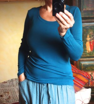 Blaumax Langarm Shirt, Basic, petrol, weicher Baumwoll/Viskose, bester Zustand, Gr. L