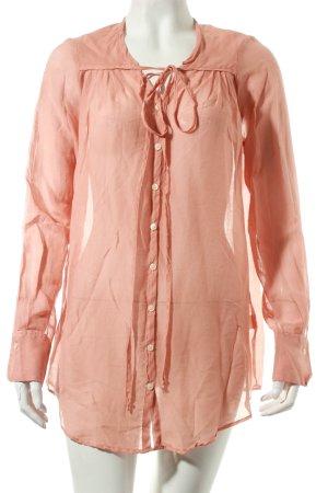 Blaumax Blusa de túnica rosa empolvado estilo clásico