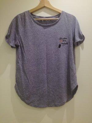 Blaumeliertes Tshirt mit Bestickung