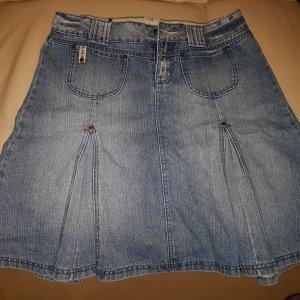 Blaustoff Jeansrock mit Falten