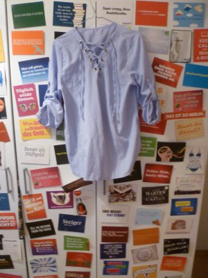 Blauweiß gestreifte Bluse mit Schnürung, Tunika, Sommer, Blogger, Oversize, Hipster
