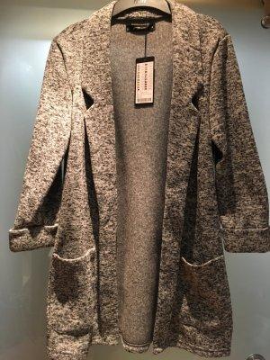 Fishbone Long Knitted Vest light grey-grey