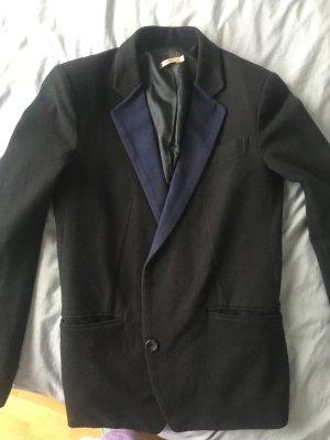 Blazer boyfriend bleu foncé-noir coton