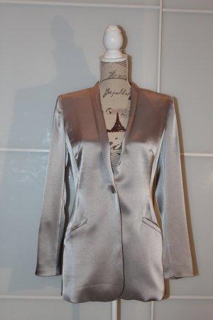 Barbara Schwarzer Blazer long gris clair tissu mixte