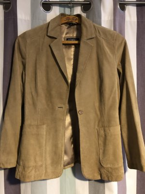 Elements Leather Blazer gold-colored-sand brown suede