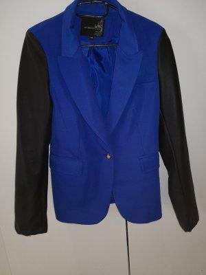 Blazer Blau schwarz mit Lederärmel