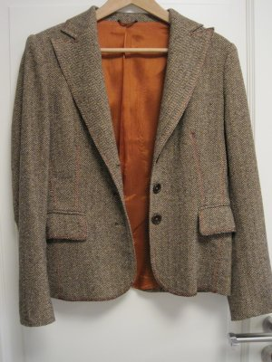 Blazer, braun / orange, Fischgräte, 42% Wolle, 18% Seide, Gr. 40, sehr guter Zustand