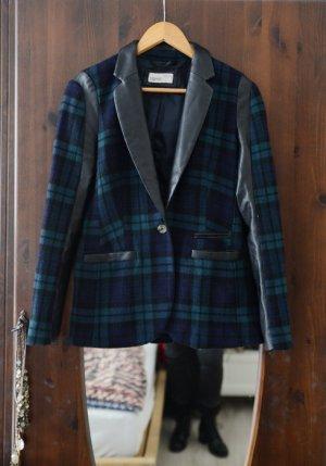 Blazer Esprit 36 kariert Tweed Leder Applikationen