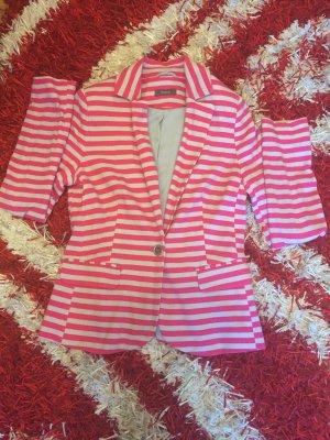 Blazer - gestreift grau pink