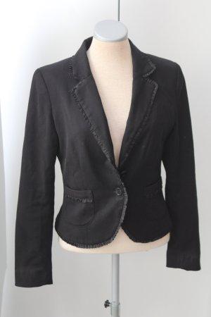 Blazer H&M Gr. 36 S Kostümjacke schwarz plissiert business festlich tailliert