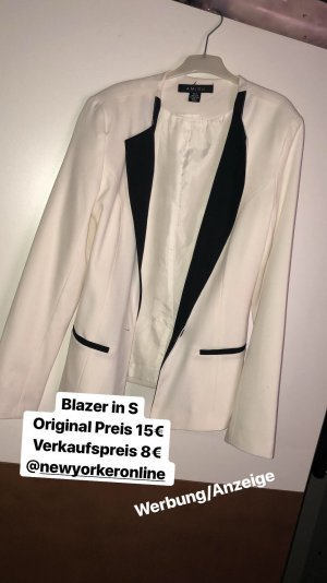 Amisu Long Blazer white-black